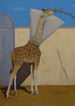 Giraffe, Tierarzt, Halskrause, painting, oil on canvas, Matthias Fitzi