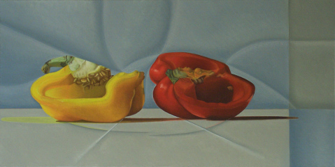 Paprika, still life, painting, oil on canvas, Matthias Fitzi