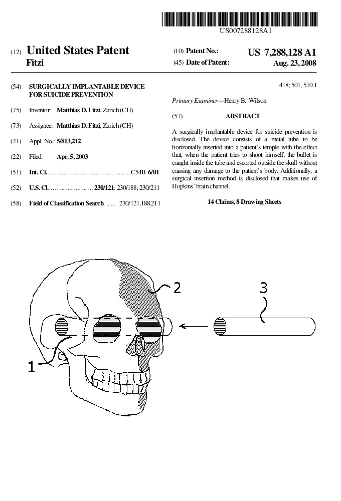 Patent describing a surgical method for suicide prevention