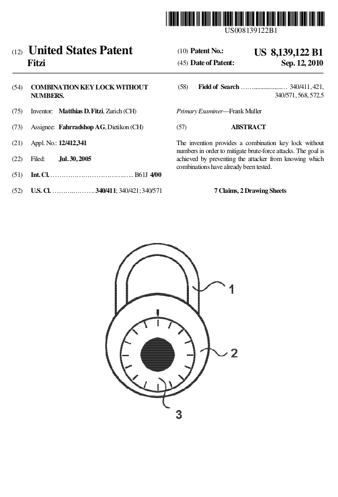 Patent describing a padlock device mitigating exhaustive search by not displaying numbers